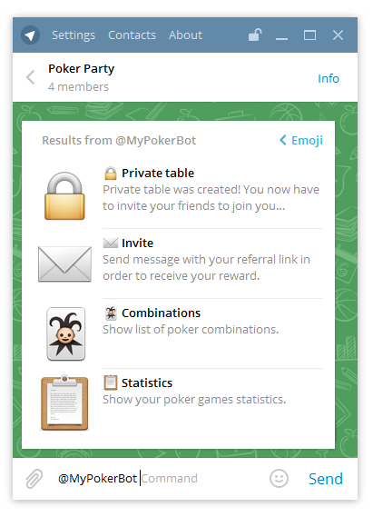PokerBot - User Profiles & Inline Mode - Texas Hold'em Poker Bot for