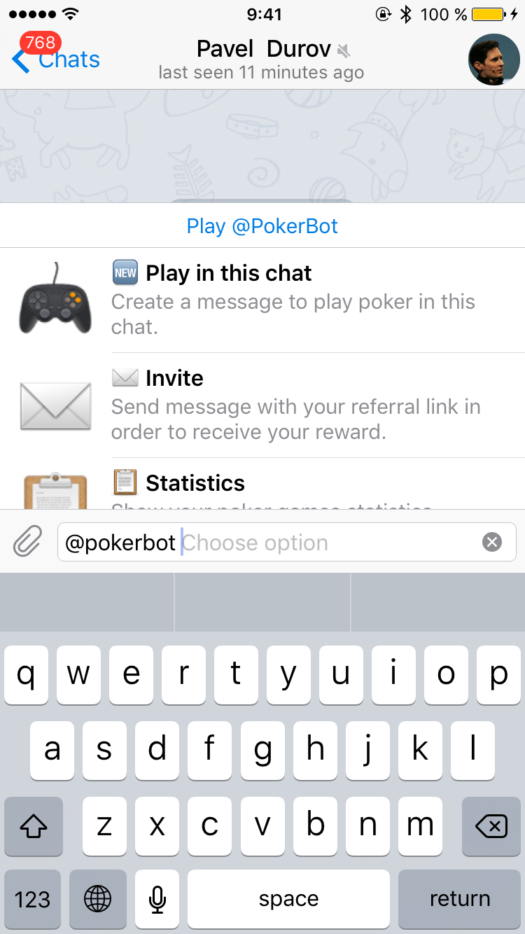 Start an inline poker table in any chat
